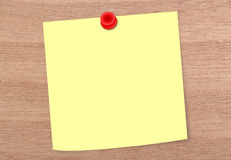 Blank Note on Woddy Board. Blank yellow note on woddy board Stock Photo