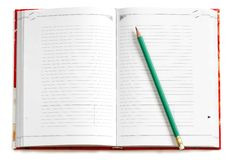 Blank notebook. Red wide opened empty notebook with a pencil on it Stock Photography