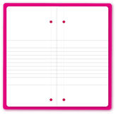 Blank Notebook. The  open empty pink notebook Stock Photo