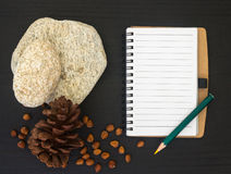 Blank notebook on black wooden table Stock Images