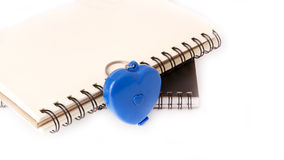 Blank Notebook with blue heart Royalty Free Stock Photos