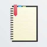 Blank Notebook with Bookmark. Vector blank notebook with bookmark. Organization Stock Images