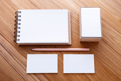 Blank notebook with business card Royalty Free Stock Photos