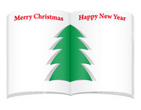 Blank notebook with christmas and new year tree ve Royalty Free Stock Photos