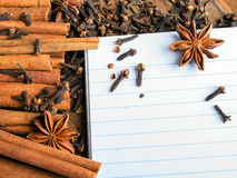 Blank notebook, cinnamon sticks, cloves and anise star Royalty Free Stock Photography