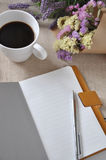 Blank Notebook with Coffee Cup Royalty Free Stock Photos