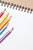 Blank notebook with color pencil. Royalty Free Stock Photos