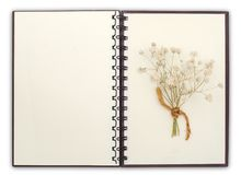 Open Notebook compose with flower with clipping path. Blank Notebook compose with flower with clipping path royalty free stock image