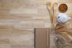 blank notebook with cooking accessory on wood,concept cooking me Stock Photography