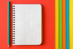 Blank notebook on corrugated paper Stock Image