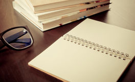 Blank notebook diary on working table Stock Image