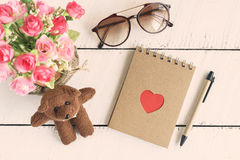 Blank notebook with flower Stock Images