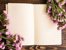 Blank notebook with flower Royalty Free Stock Images