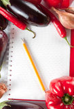 Blank notebook with fresh vegetables Stock Photos