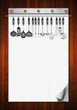 Blank Notebook with Kitchen Utensils Stock Photos