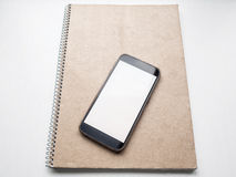 Blank notebook with kraft cardboard cover and spiral, mockup Stock Photo