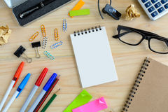Blank notebook with office supply on desk Stock Image