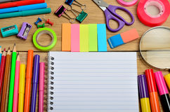 Blank notebook with office supply Stock Photos