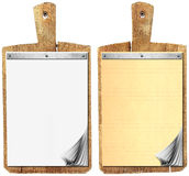 Blank Notebook on Old Wood Cutting Board Stock Image