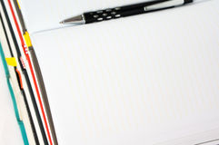Blank notebook open with pen Royalty Free Stock Photography