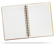 Blank notebook. An open blank notebook with spiral isolated on white Stock Photo
