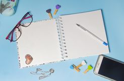 Blank notebook page for input the text in the middle. stock photos