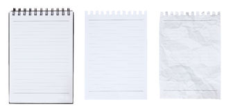 Blank notebook and page ripped on white background Stock Image