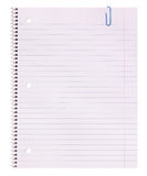 Blank. Notebook paper and paper clip isolated on white background. Back to school royalty free stock photography