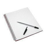 Blank notebook and pen. Stock Images
