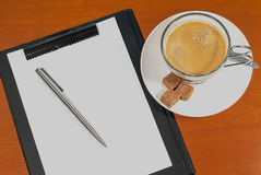 Blank notebook with pen and coffee Royalty Free Stock Photo