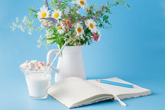Blank notebook with pen and flowers pot on blue background Stock Photos