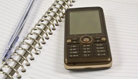 Blank Notebook, Pen, Mobile Phone Stock Photo