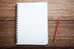 Blank notebook with pen Stock Image