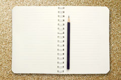 Blank notebook with pencil Royalty Free Stock Image