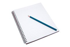 Blank notebook and pencil. Isolated on white with clipping path royalty free stock photo
