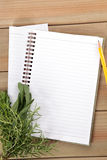 Blank notebook and pencil with a bunch of herbs Royalty Free Stock Images