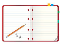 Blank notebook with pencil  illustration Royalty Free Stock Photos