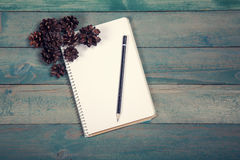 Blank notebook with pencil and pine cones Royalty Free Stock Image