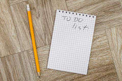 Blank notebook and pencil with todo list Stock Image