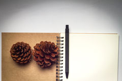 Blank notebook with pencil on white vintage background Stock Image