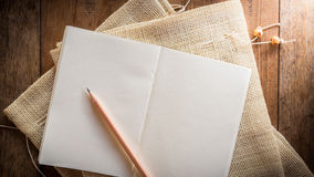 Blank notebook with pencil Royalty Free Stock Photo