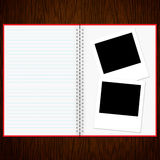 Blank notebook and photo Royalty Free Stock Photography