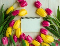 Blank notebook with pink and yellow flower, tulips Stock Photos