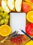 Blank notebook for recipes. With colorful fruits Stock Photo