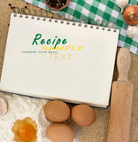 Blank notebook for recipes. With baking ingredients Royalty Free Stock Photo