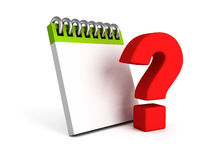 Blank notebook with red question mark Stock Photo
