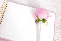 Blank notebook and rose on a white carpet Stock Photos