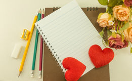 Blank notebook with  school supplies and rose, Vintage.  Royalty Free Stock Photo