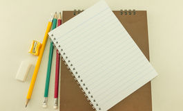 Blank notebook with  school supplies, Vintage.  Stock Photography