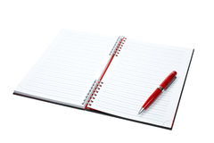 Blank notebook sheet with pen Royalty Free Stock Photo